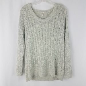 Free people seafoam green cable knit sweater J22